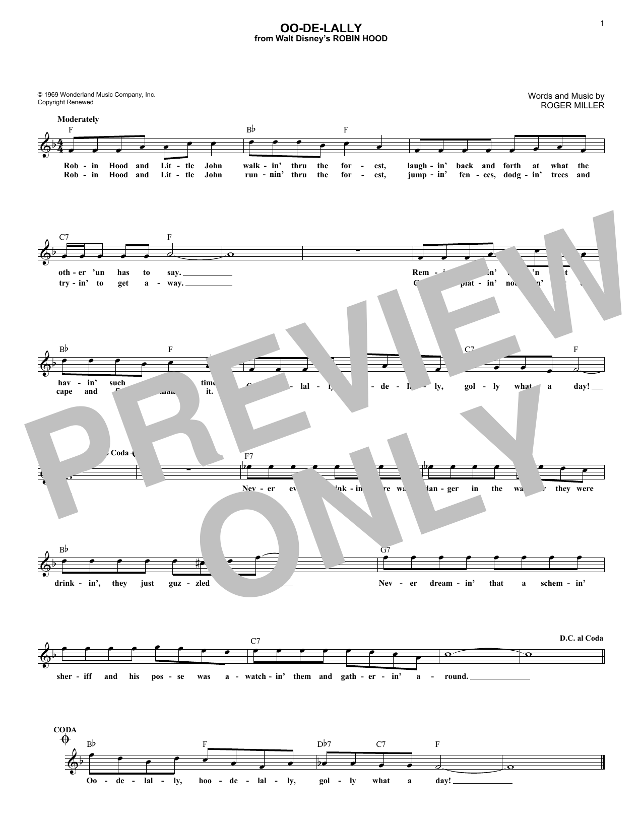 Roger Miller Oo-De-Lally sheet music notes and chords. Download Printable PDF.