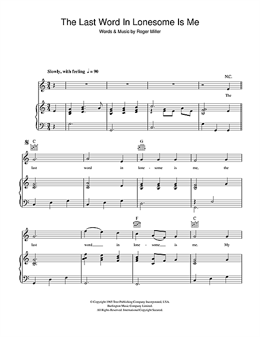 Roger Miller The Last Word In Lonesome Is Me sheet music notes and chords. Download Printable PDF.