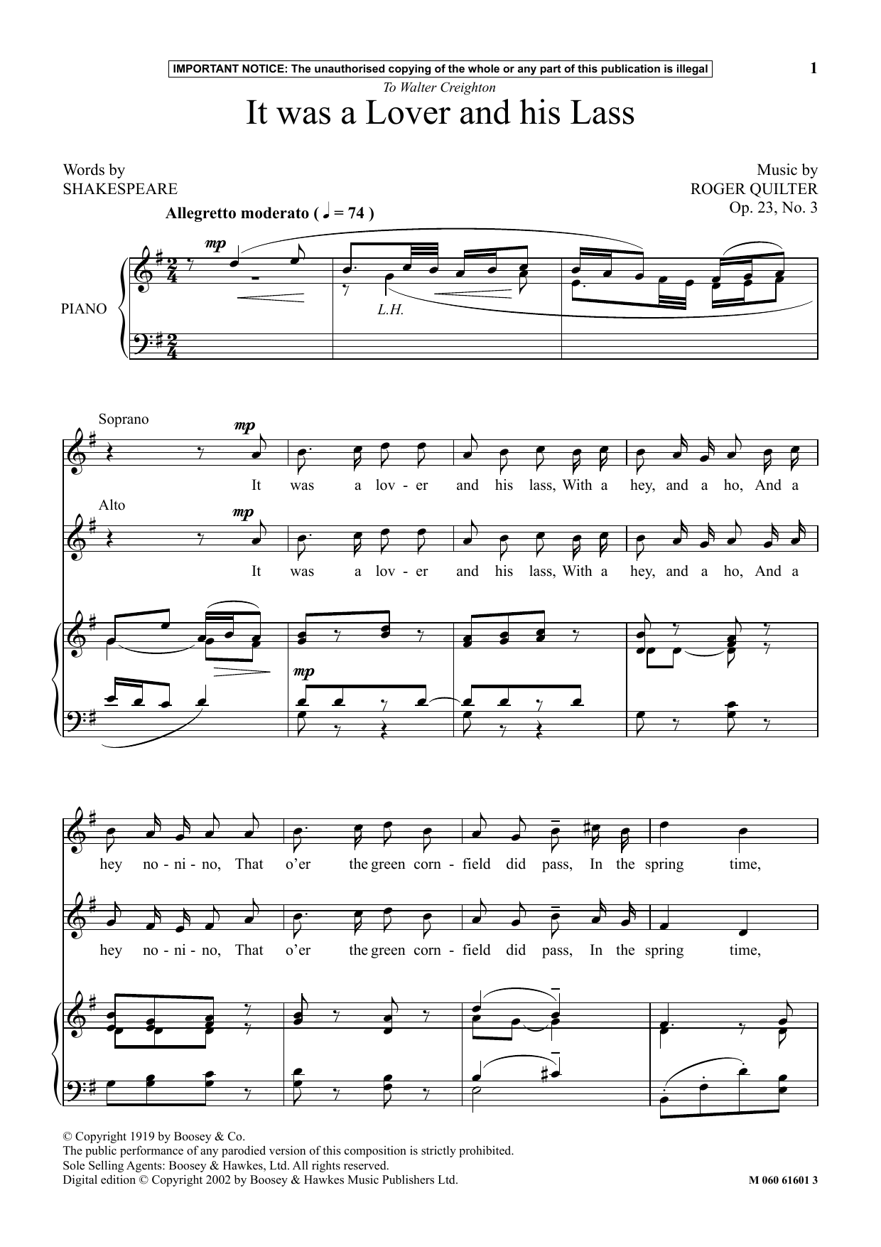 Roger Quilter It Was A Lover And His Lass sheet music notes and chords