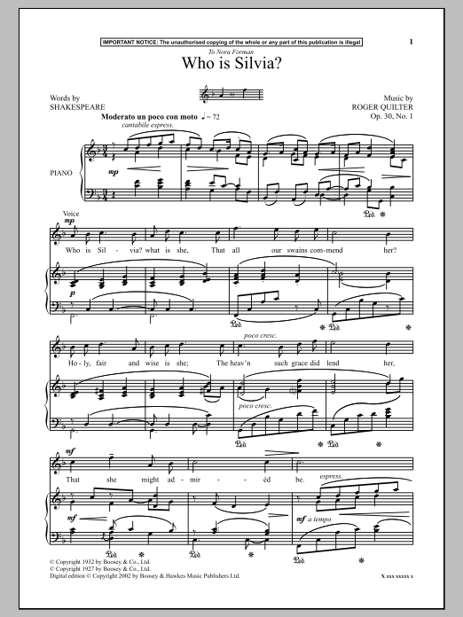 Roger Quilter Who Is Silvia? sheet music notes and chords. Download Printable PDF.