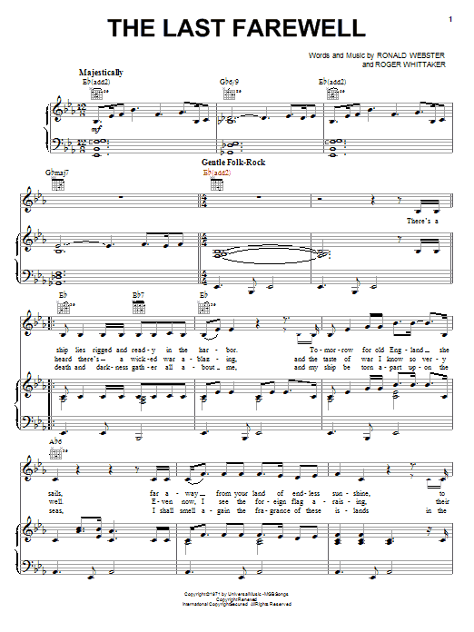 Roger Whittaker The Last Farewell sheet music notes and chords. Download Printable PDF.