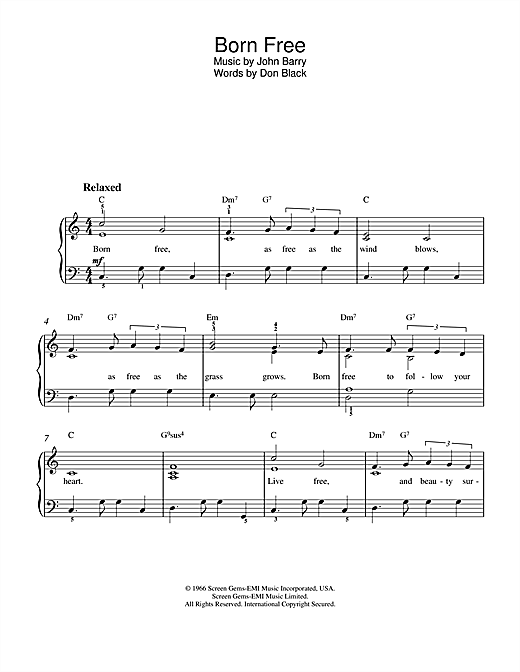 Roger Williams Born Free sheet music notes and chords. Download Printable PDF.