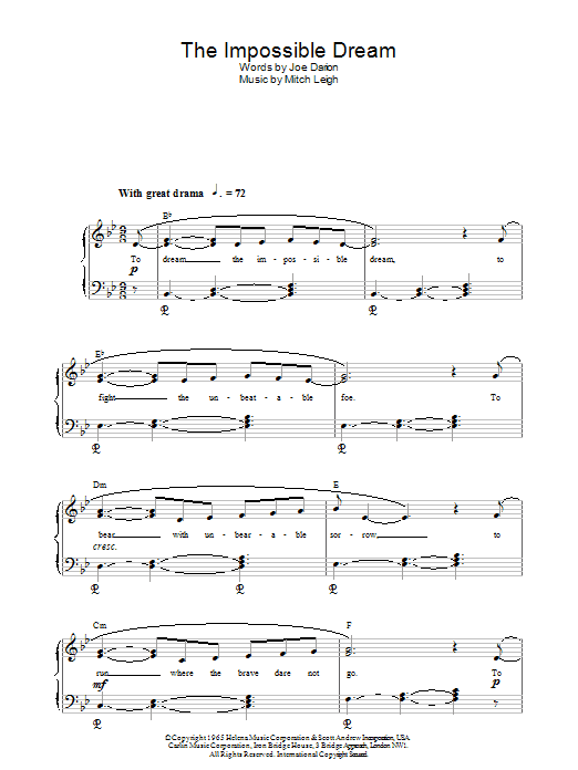 Roger Williams The Impossible Dream sheet music notes and chords. Download Printable PDF.