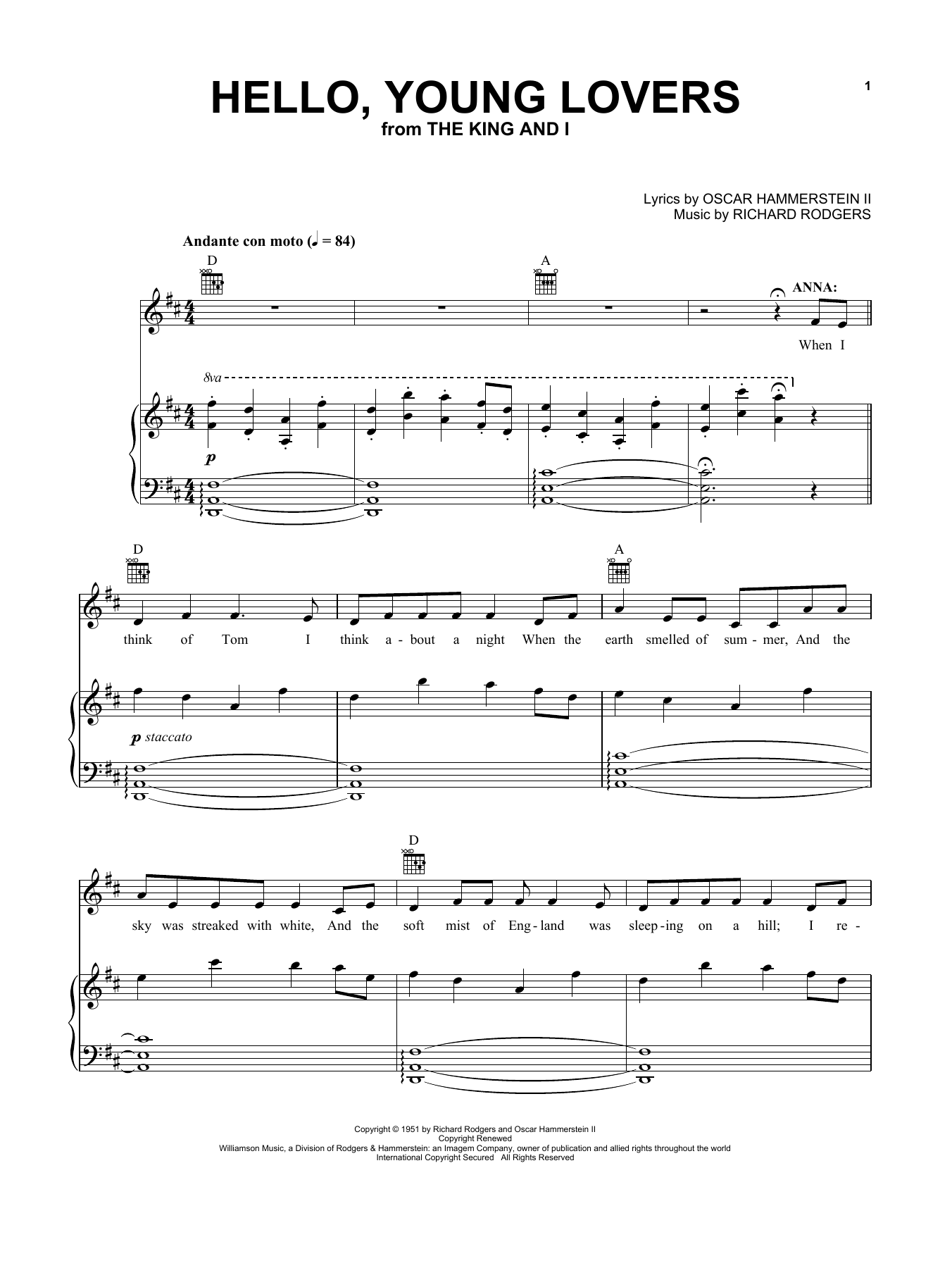 Rogers & Hammerstein Hello, Young Lovers sheet music notes and chords. Download Printable PDF.