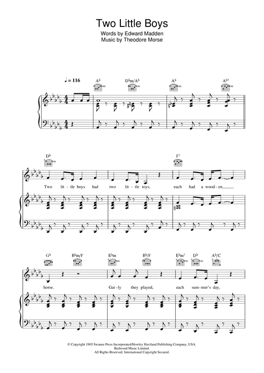 Rolf Harris Two Little Boys sheet music notes and chords. Download Printable PDF.