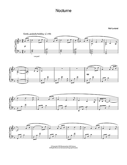 Rolf Løvland Nocturne sheet music notes and chords. Download Printable PDF.