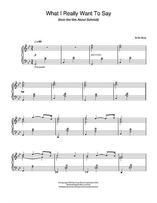 Rolfe Kent What I Really Want To Say (from About Schmidt) sheet music notes and chords