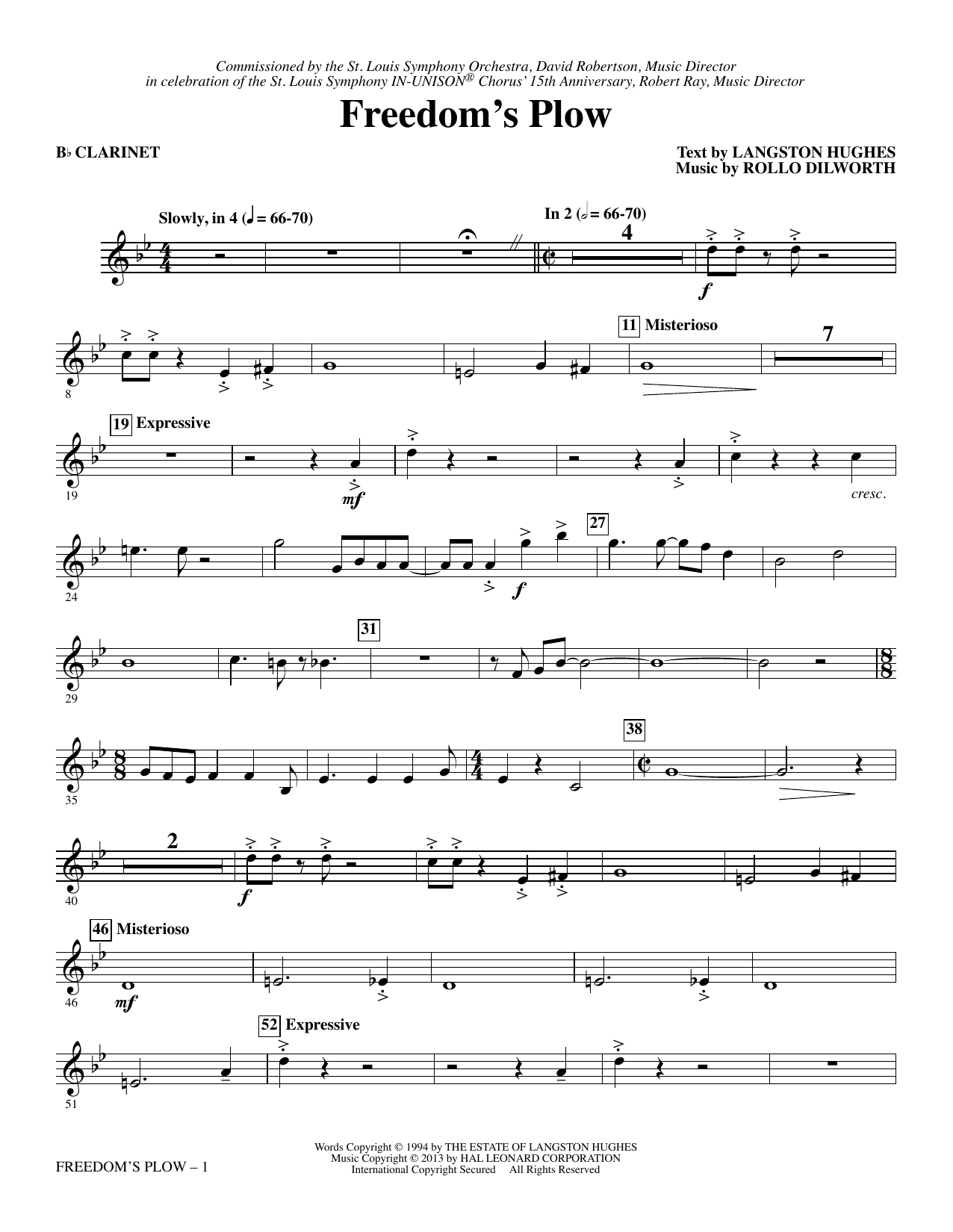 Rollo Dilworth Freedom's Plow - Bb Clarinet sheet music notes and chords. Download Printable PDF.
