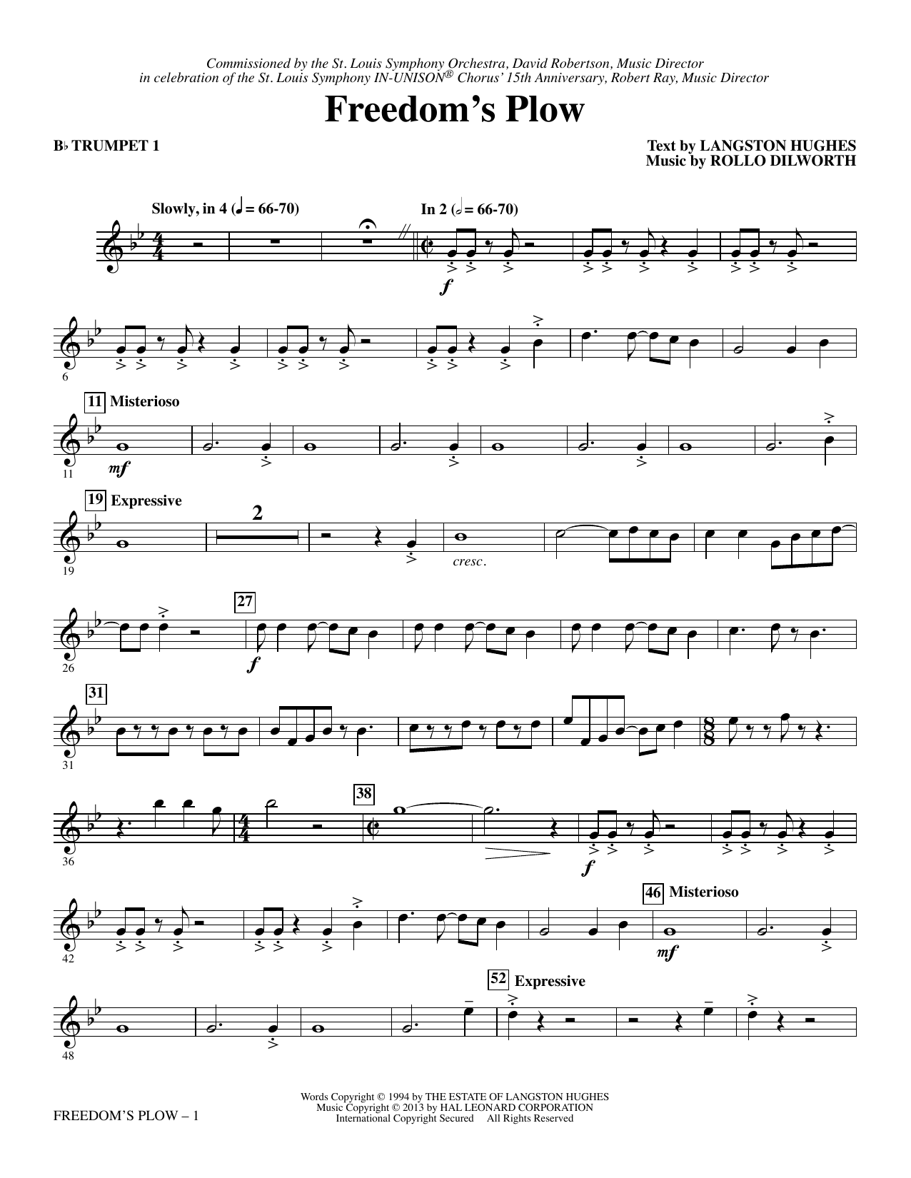 Rollo Dilworth Freedom's Plow - Bb Trumpet 1 sheet music notes and chords. Download Printable PDF.