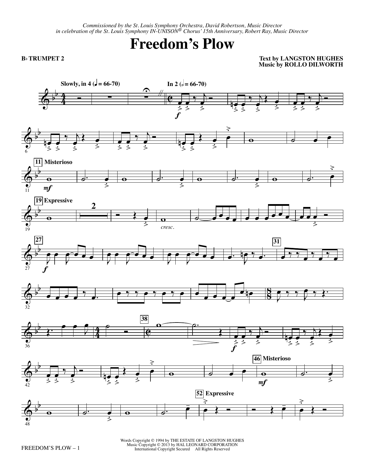 Rollo Dilworth Freedom's Plow - Bb Trumpet 2 sheet music notes and chords. Download Printable PDF.