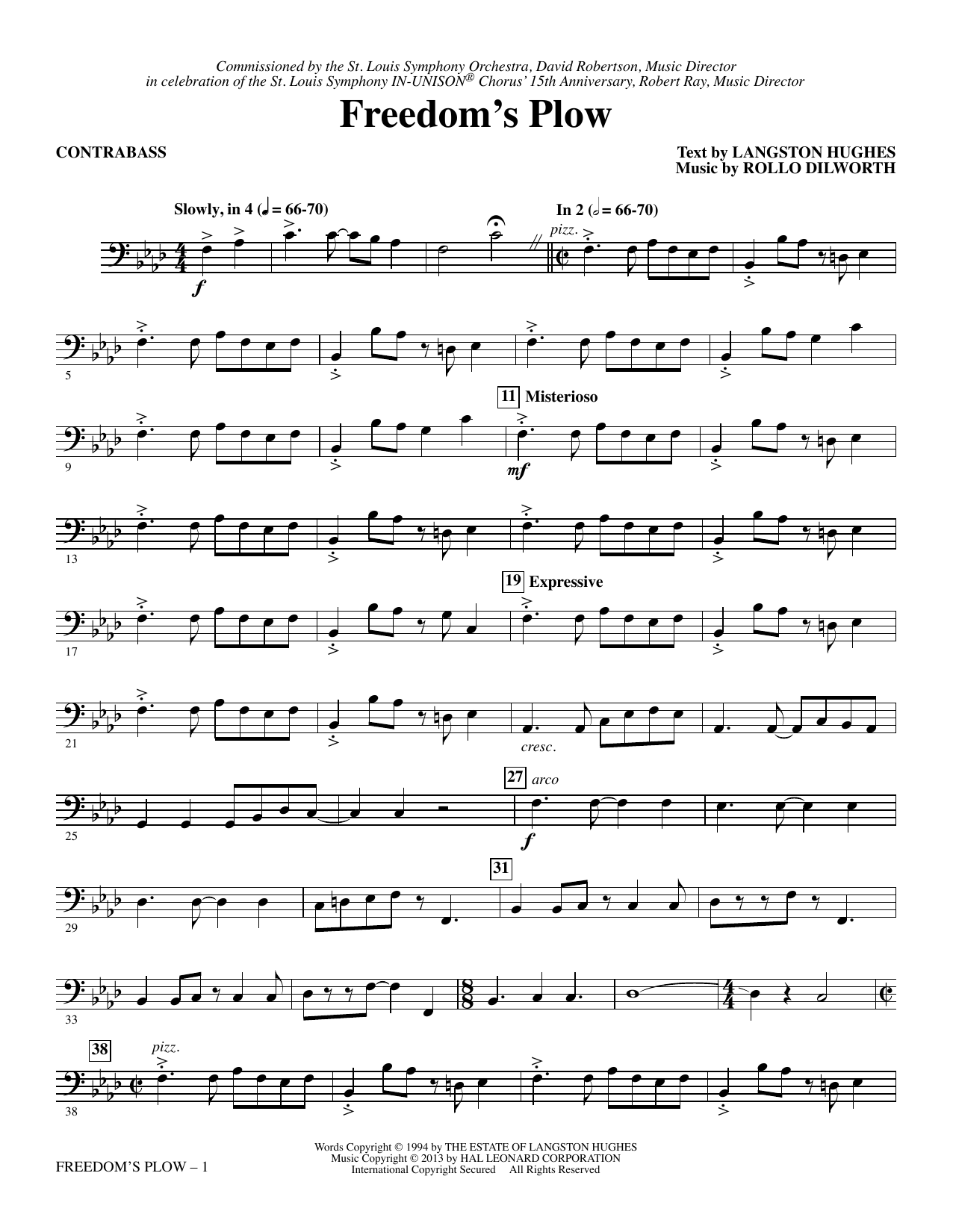 Rollo Dilworth Freedom's Plow - Contrabass sheet music notes and chords. Download Printable PDF.