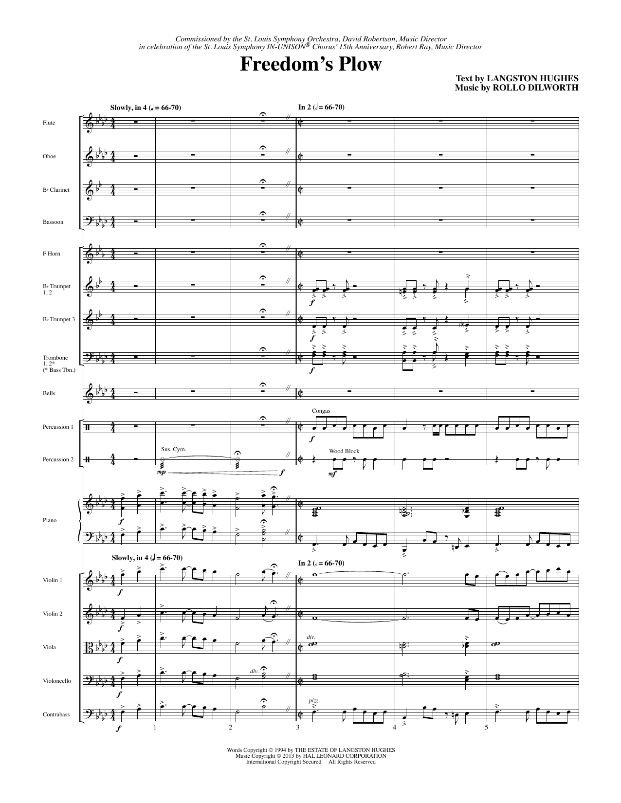 Rollo Dilworth Freedom's Plow - Full Score sheet music notes and chords. Download Printable PDF.