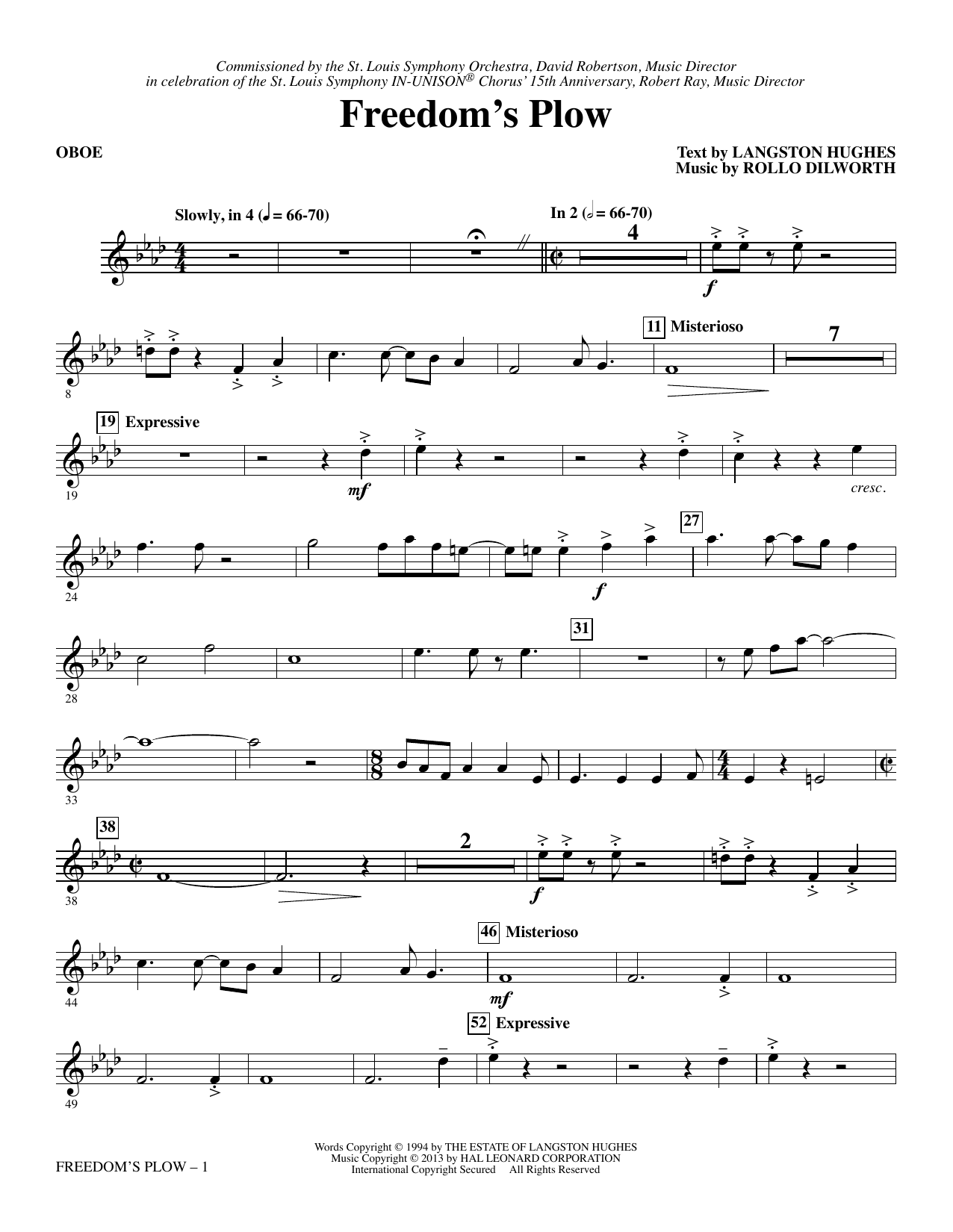 Rollo Dilworth Freedom's Plow - Oboe sheet music notes and chords. Download Printable PDF.