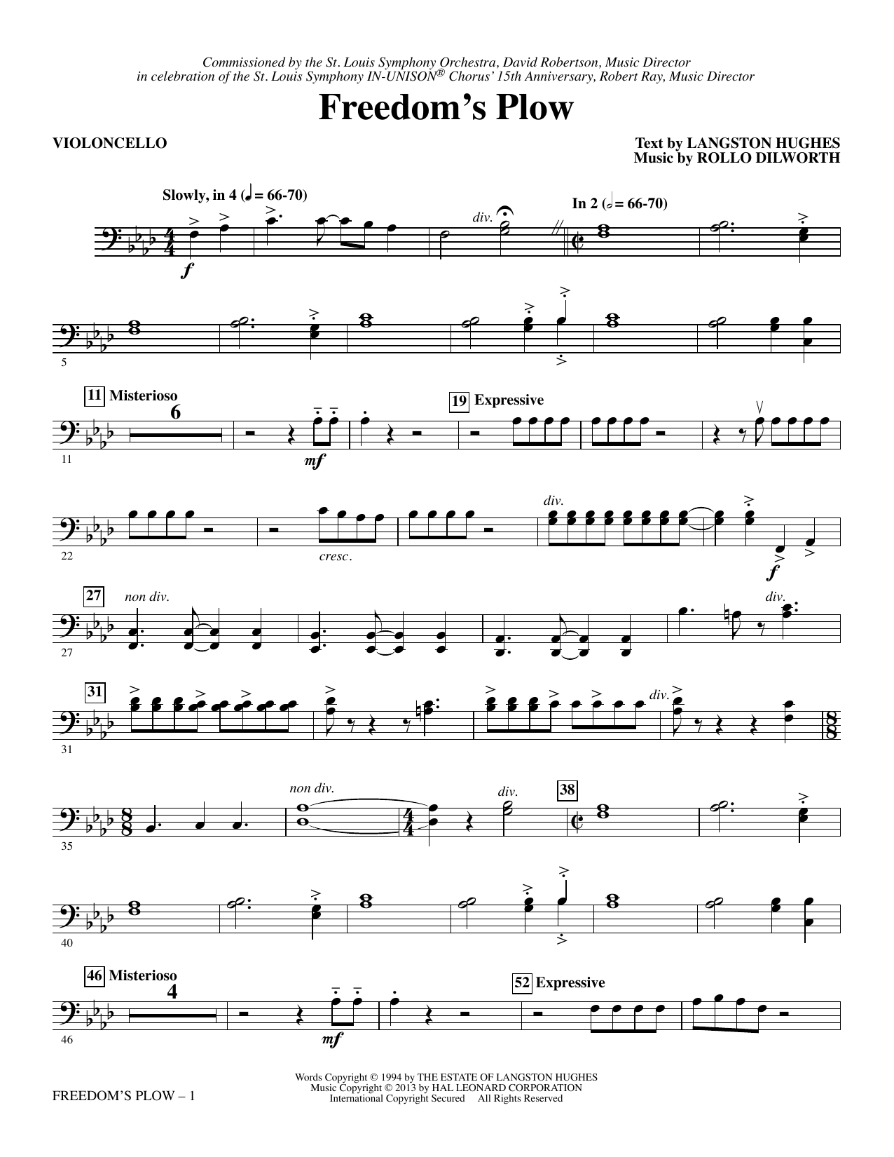 Rollo Dilworth Freedom's Plow - Violoncello sheet music notes and chords. Download Printable PDF.