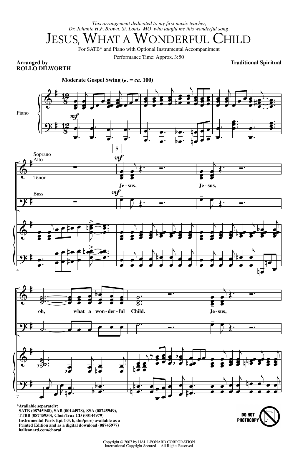 Rollo Dilworth Jesus, What A Wonderful Child sheet music notes and chords. Download Printable PDF.