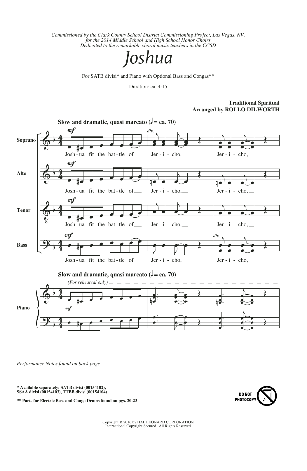Rollo Dilworth Joshua (Fit The Battle Of Jericho) sheet music notes and chords. Download Printable PDF.