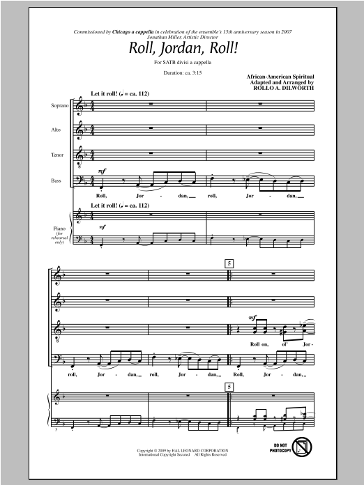 Traditional Spiritual Roll, Jordan, Roll! (arr. Rollo Dilworth) sheet music notes and chords. Download Printable PDF.