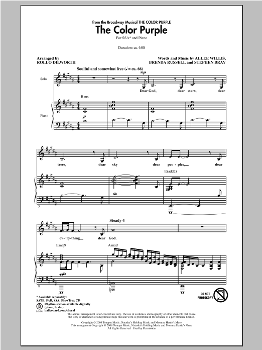 The Color Purple (Musical) The Color Purple (arr. Rollo Dilworth) sheet music notes and chords. Download Printable PDF.