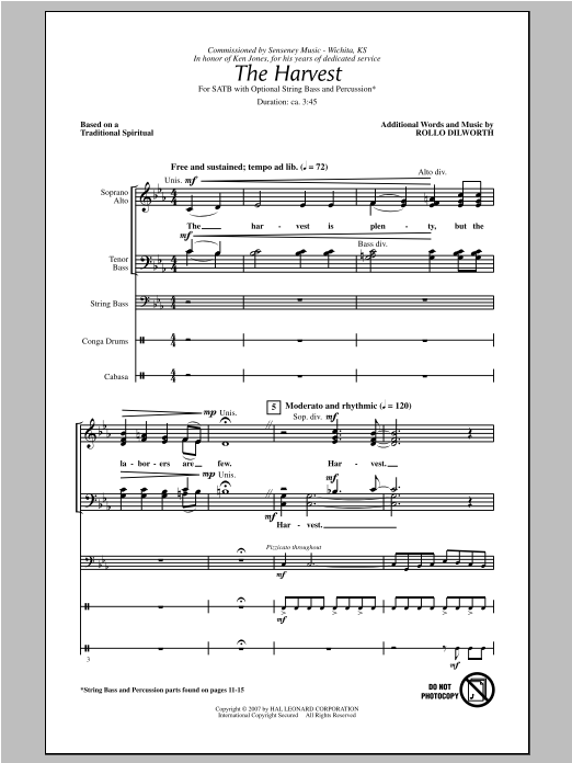 Rollo Dilworth The Harvest sheet music notes and chords. Download Printable PDF.