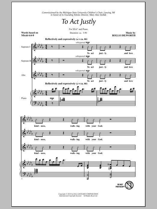 Rollo Dilworth To Act Justly sheet music notes and chords. Download Printable PDF.