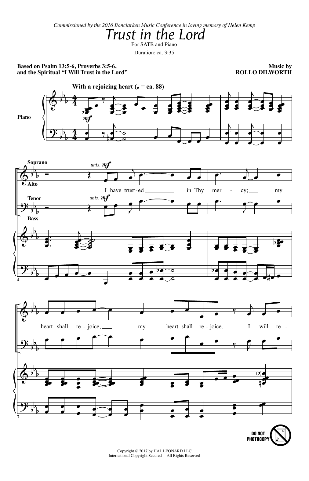 Rollo Dilworth Trust In The Lord sheet music notes and chords. Download Printable PDF.
