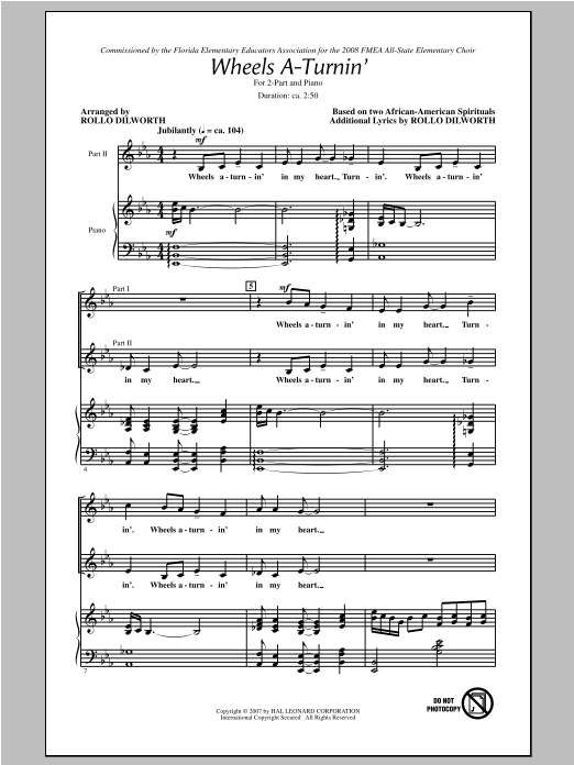 Traditional Spiritual Wheels A-Turnin' (arr. Rollo Dilworth) sheet music notes and chords. Download Printable PDF.