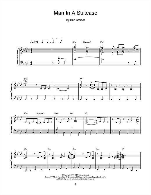Ron Grainer Man In A Suitcase sheet music notes and chords. Download Printable PDF.