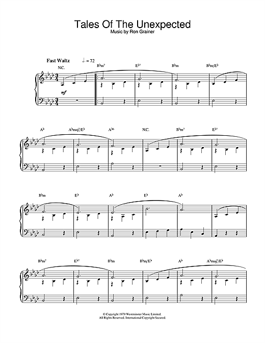 Ron Grainer Theme from Tales Of The Unexpected sheet music notes and chords