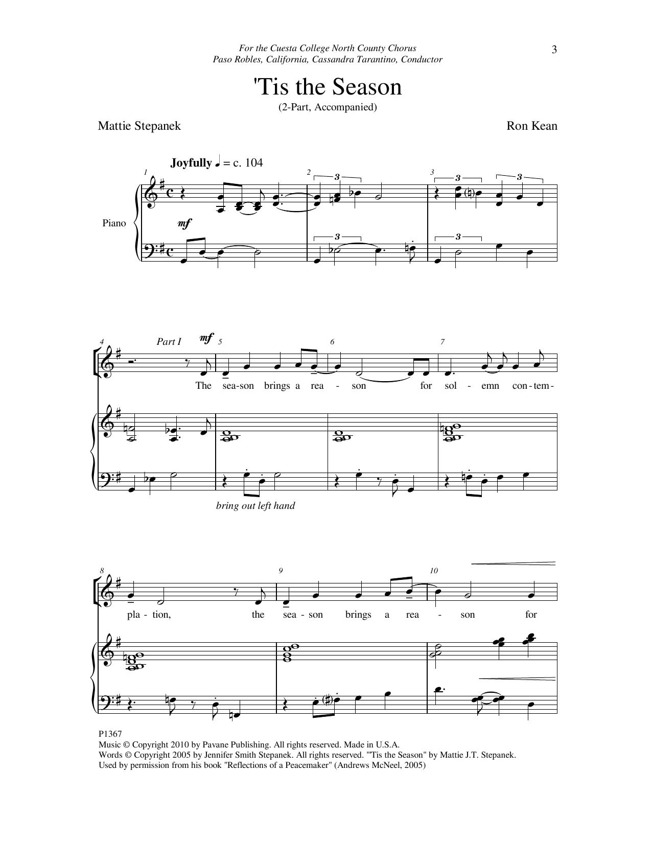 Ron Kean 'Tis The Season sheet music notes and chords. Download Printable PDF.