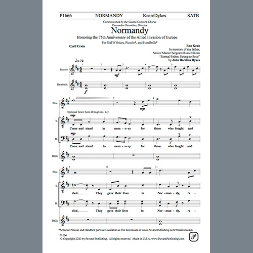 Easily Download Ron Kean Printable PDF piano music notes, guitar tabs for SATB Choir. Transpose or transcribe this score in no time - Learn how to play song progression.