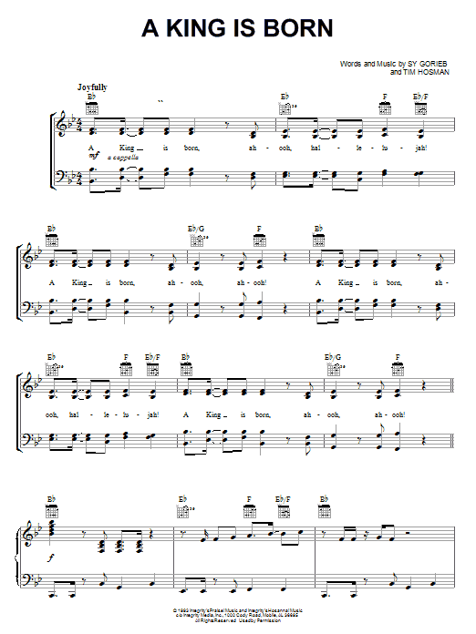 Ron Kenoly A King Is Born sheet music notes and chords. Download Printable PDF.