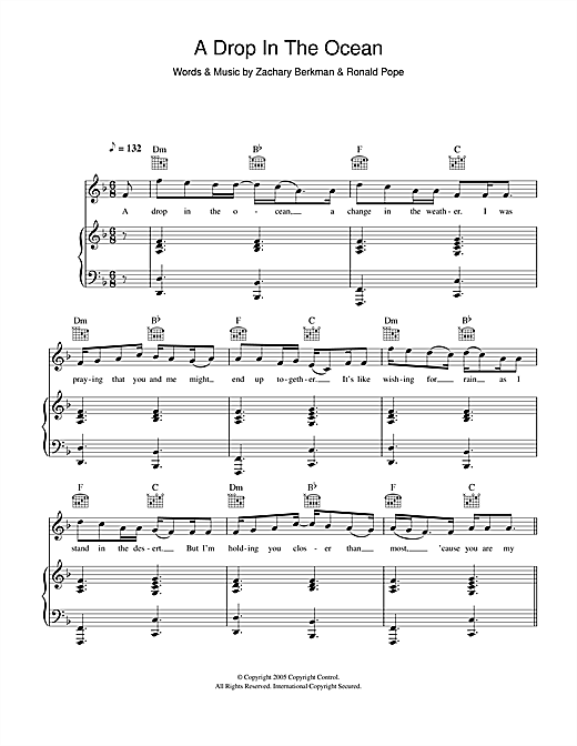 Ron Pope 'A Drop In The Ocean' Sheet Music Notes, Chords | Download  Printable Piano, Vocal & Guitar - SKU: 113523