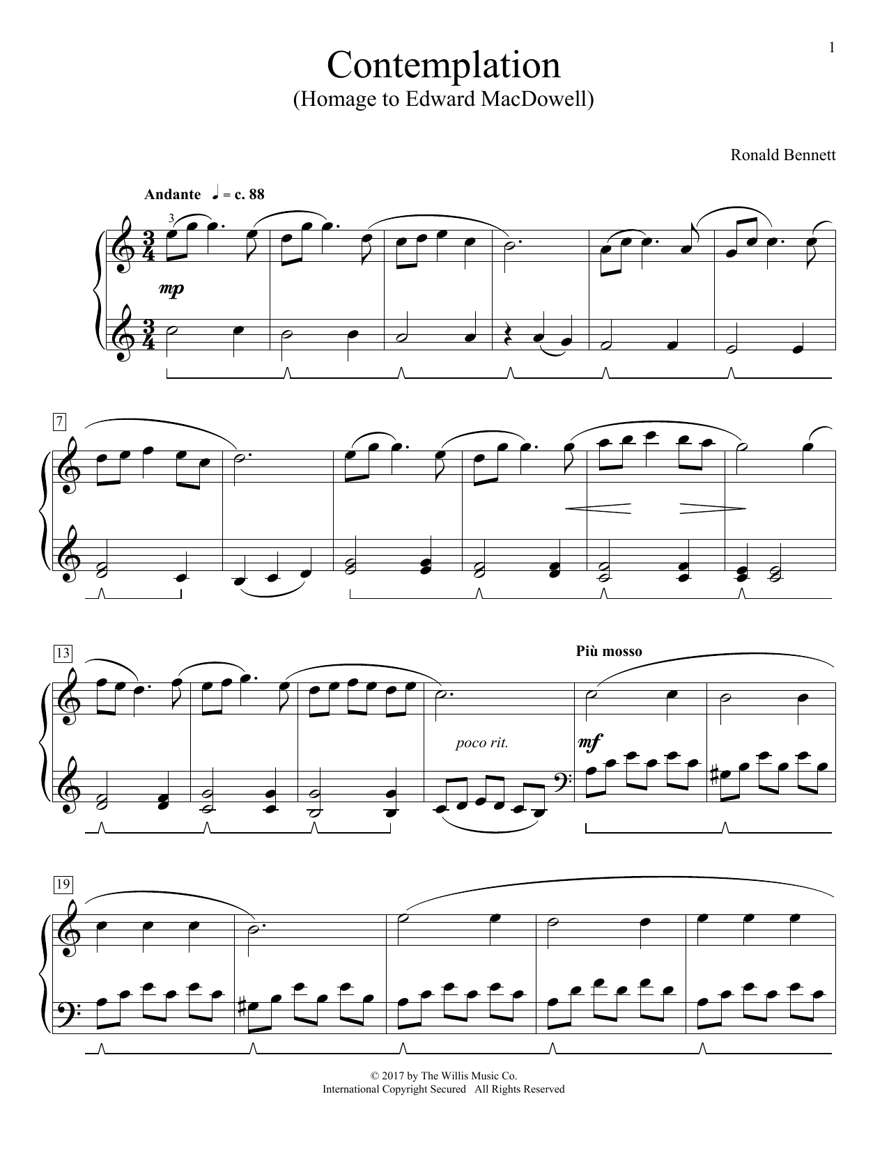 Ronald Bennett Contemplation (Homage To Edward MacDowell) sheet music notes and chords. Download Printable PDF.