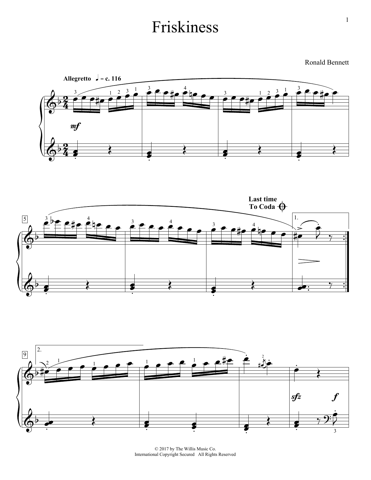 Ronald Bennett Friskiness sheet music notes and chords. Download Printable PDF.