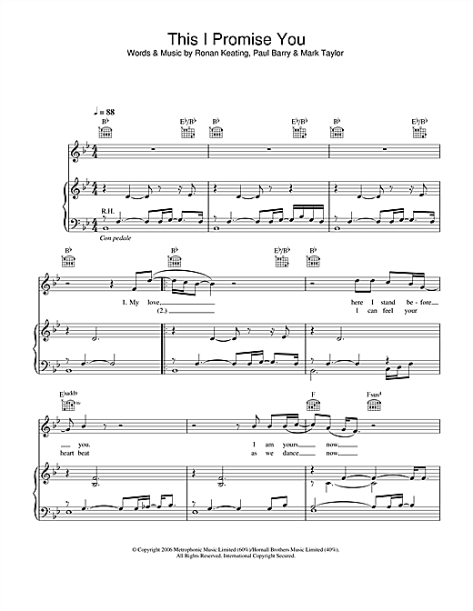 Ronan Keating This I Promise You sheet music notes and chords. Download Printable PDF.