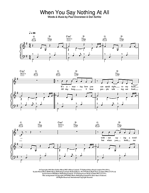 Ronan Keating When You Say Nothing At All sheet music notes and chords