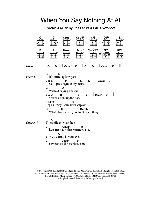 Ronan Keating When You Say Nothing At All sheet music notes and chords. Download Printable PDF.