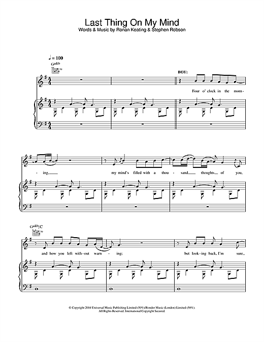 Ronan Keating & LeAnn Rimes Last Thing On My Mind sheet music notes and chords. Download Printable PDF.