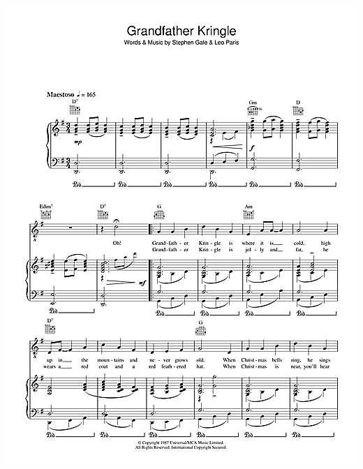 Ronnie Ronalde Grandfather Kringle sheet music notes and chords. Download Printable PDF.