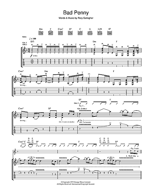 Rory Gallagher Bad Penny sheet music notes and chords