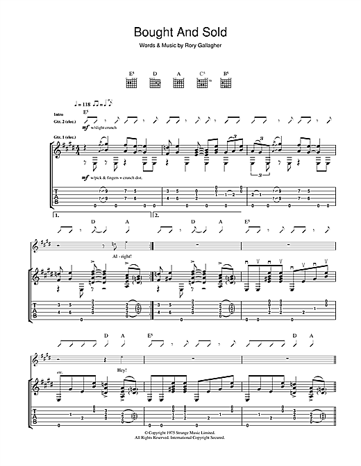 Rory Gallagher Bought And Sold sheet music notes and chords. Download Printable PDF.