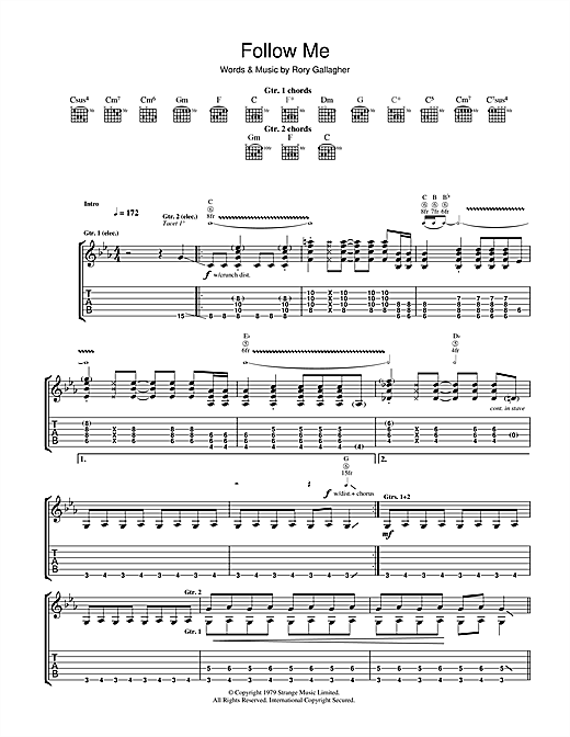 Rory Gallagher Follow Me sheet music notes and chords