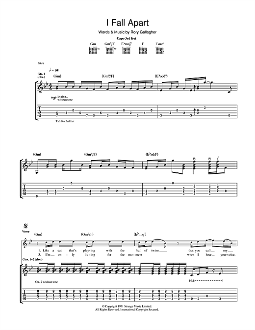 Rory Gallagher I Fall Apart sheet music notes and chords