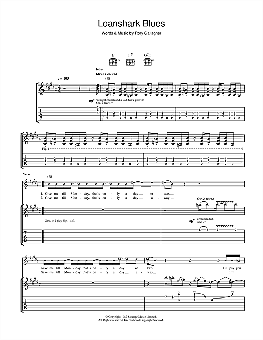 Rory Gallagher Loanshark Blues sheet music notes and chords. Download Printable PDF.