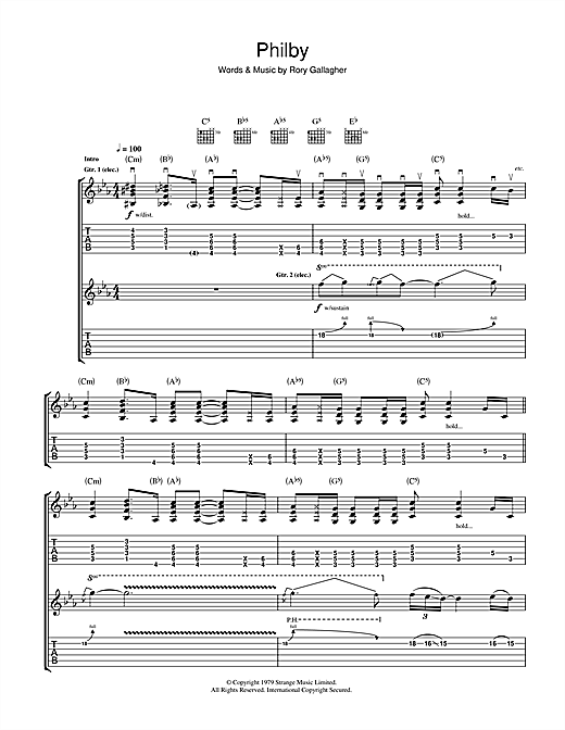 Rory Gallagher Philby sheet music notes and chords. Download Printable PDF.