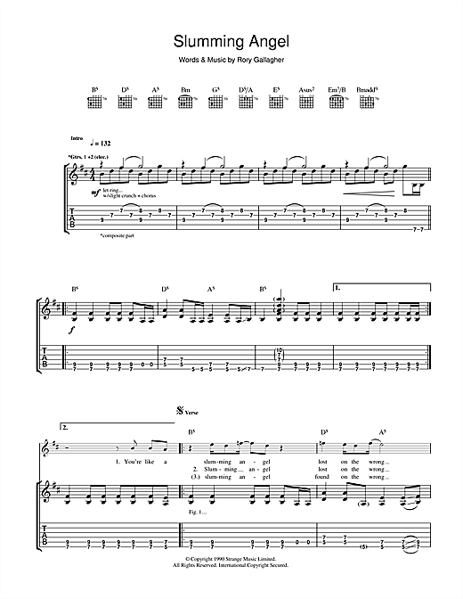 Rory Gallagher Slumming Angel sheet music notes and chords. Download Printable PDF.