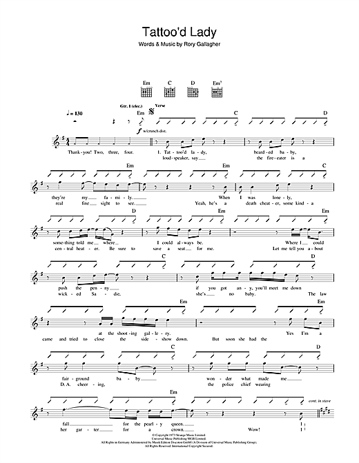 Rory Gallagher Tattoo'd Lady sheet music notes and chords. Download Printable PDF.