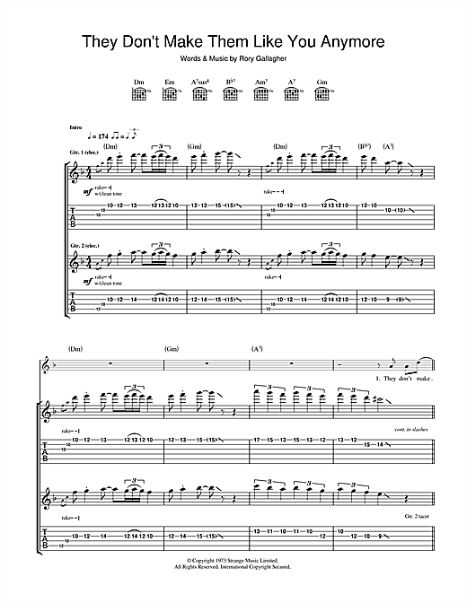 Rory Gallagher They Don't Make Them Like You Anymore sheet music notes and chords. Download Printable PDF.