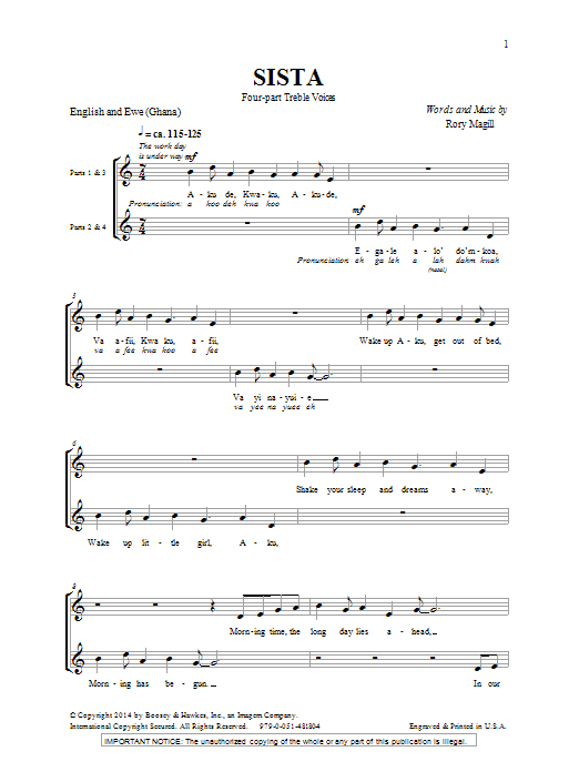Rory Magill Sista sheet music notes and chords. Download Printable PDF.