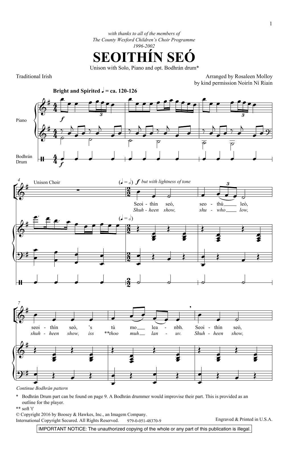 Rosaleen Molloy Seoithin Seo sheet music notes and chords